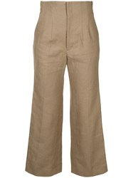Cityshop Flared Cropped Trousers Brown