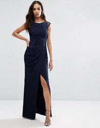 Lipsy Michelle Keegan Loves Ruched Lace Maxi Dress Navy