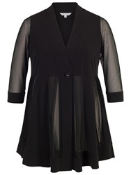 Chesca Mesh And Jersey Panel Jacket Black