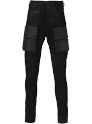 Julius Coated Stretch Velcro Patch Jeans Black