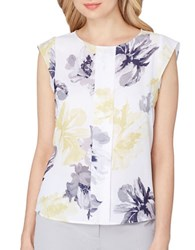 Tahari By Arthur S. Levine Printed Sleeveless Blouse White