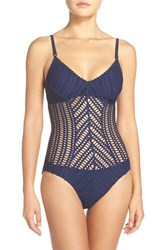 Robin Piccone Women's 'Sophia' Cutout One Piece Swimsuit Indigo