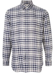 Kent And Curwen Checked Shirt Blue