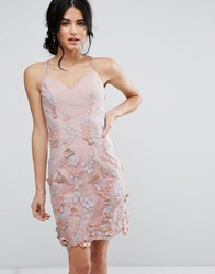 Chi Chi London Pencil Dress In 3D Embroidery Pink
