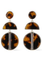 Ben Amun Woman 24 Karat Gold Plated Tortoiseshell Acrylic Earrings Light Brown