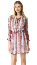 Just Cavalli Lace Up Dress Western Paisley Chambray Print