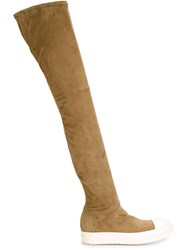 Rick Owens Two Tone Thigh High Boots Nude And Neutrals