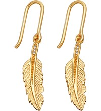 Astley Clarke Biography 18Ct Yellow Gold Plated Feather Drop Earrings