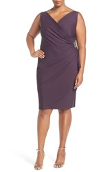 Alex Evenings Plus Size Women's Embellished Pleat Front Surplice Sheath Dress