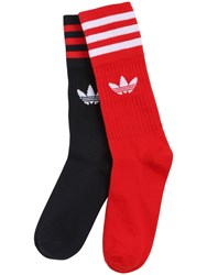 Adidas Logo And Stripes Cotton Blend Crew Socks