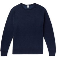 Aspesi Slim Fit Loopback Cotton Cashmere And Wool Blend Sweater Blue