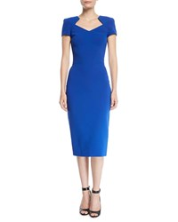Zac Posen V Neck Short Sleeve Bonded Crepe Body Con Midi Day Dress Blue