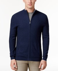 Club Room Men's Zip Cardigan Only At Macy's Navy Stone Heather