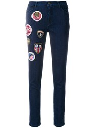 Mr And Mrs Italy Decorative Patch Cropped Jeans Blue