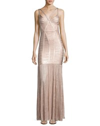 Herve Leger Sleeveless Metallic Plisse Bandage Gown Pink Pink Metallic