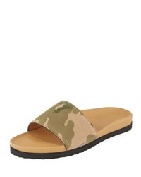 Buscemi Camouflage Print Suede Slide Sandal Multi