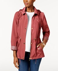 Charter Club Petite Anorak Rain Jacket Dusty Coral