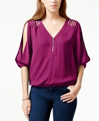 Xoxo Juniors' Zipper Front Cutout Slit Sleeve Blouse Fuschia