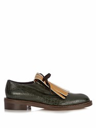 Marni Fringed Bow Leather Loafers Green Gold