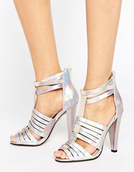 Little Mistress Holographic Multi Cut Out Heeled Sandal Hologram Silver