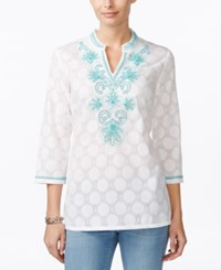 Charter Club Dot Print Embroidered Tunic Only At Macy's Bright White