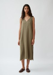 Raquel Allegra Cotton Gauze Luna Dress Army
