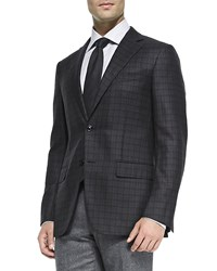 Ermenegildo Zegna Check Wool Jacket Charcoal Burgundy Grey