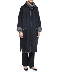 Eskandar Two Tone Hooded Woven Coat Coal Midgrey