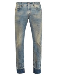 Gucci Stain Effect Tapered Leg Jeans Blue