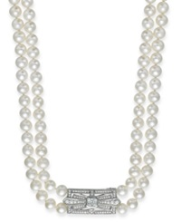 Arabella Bridal Cultured Freshwater Pearl 6 1 2Mm And Swarovski Zirconia 2 3 8 Ct. T.W. Two Row Necklace In Sterling Silver White