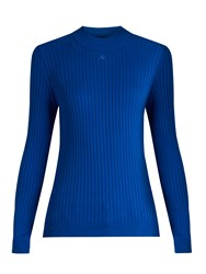 Courreges Roll Neck Ribbed Knit Sweater Blue