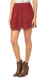 Madewell Lace Pleated Miniskirt Dusty Burgundy