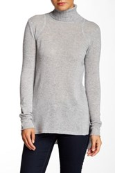 Cullen Rib Detail Hi Lo Cashmere Turtleneck Sweater Gray