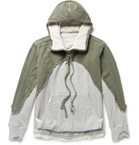 Greg Lauren Distressed Panelled Canvas And Loopback Cotton Jersey Hoodie Green