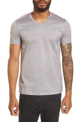 Boss Men's Slim Fit Stripe V Neck T Shirt Grey
