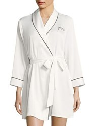 Kate Spade Long Sleeve Embroidered Robe Ivory Bridal Blue