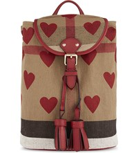 Burberry Heart Check Canvas Backpack Parade Red