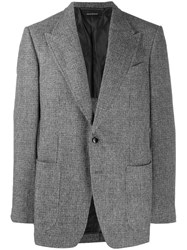 Tom Ford Plaid Print Blazer Grey