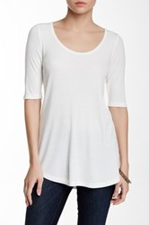 Heather By Bordeaux Elbow Length Sleeve Scoop Tee White