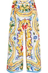Dolce And Gabbana Printed Cotton Poplin Culottes Yellow