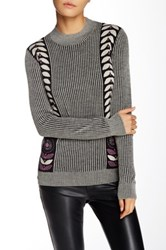 Anna Sui Mid Century Ribbed Wool Blend Sweater Black