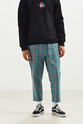 Urban Outfitters Uo Plaid Work Pant Turquoise