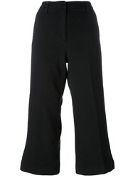 Barba Flared Cropped Trousers Black