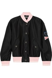 Miu Miu Appliqued Satin Bomber Jacket Black