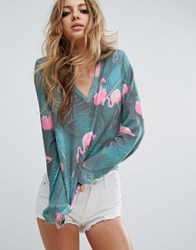 Wildfox Couture Mami Palms Flamingo Baggy Beach Sweater Multi