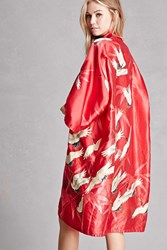 Forever 21 Repurposed Satin Bird Kimono Red Multi