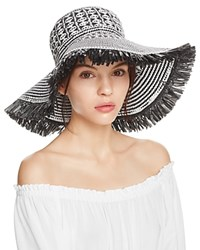 Aqua Geometric Weave Floppy Sun Hat 100 Exclusive Black White