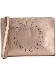 Stella Mccartney Logo Clutch Gold