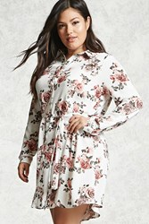 Forever 21 Plus Size Floral Shirt Dress White Pink