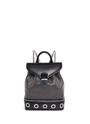 Alexander Mcqueen Small Eyelet Leather Backpack Black